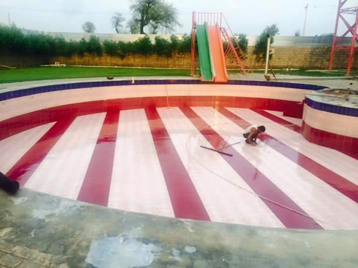 Water Slides and Swimming Pool at Shazaib Water Park, Sahiwal, Pakistan